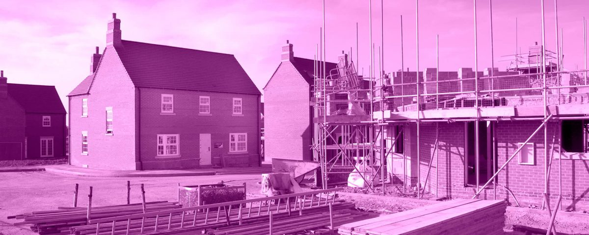 New homes under construction - with purple tinge