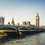 Big Ben and Houses of Parliament and Portcullis House from Westminster Bridge