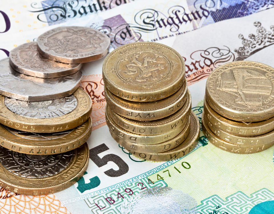Cash, pound sterling, One-pound coin, two-pound coin, twenty pence piece, fifty pence piece